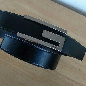 Gucci Accessories - Gucci  Leather Silver Tone G Belt
